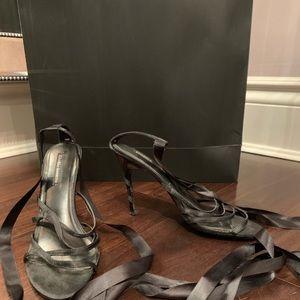 Heeled Sandal with satin ties. Size 8.